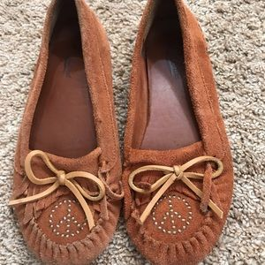 🍀Lucky Brand Archee Moccasins Brown Suede ☮️